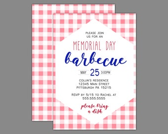 Memorial Day Barbecue Picnic Style Party Invitation
