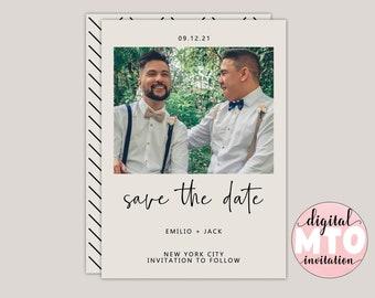 JACK - Modern Photo Save The Date, Printable PDF or Digital JPEG, Wedding Announcement, Custom Made Minimalist, Contemporary