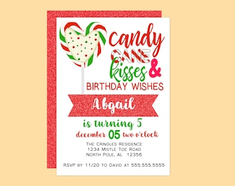 Candy Cane Kisses Birthday Party Invitation