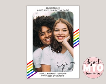 CELEBRATE LOVE - Rainbow Stripes Save The Date Card, Same-Sex Save The Date, Pride Wedding Announcement, Photo Save the Date, Printable