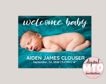 WELCOME BABY - Modern Birth Announcement, Photo Birth Announcement, Girl or Boy Printable Birth Announcement, Made for You