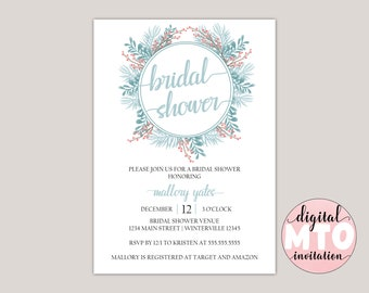 APATITE - Winter Garden Bridal Shower Invitation, Made to Order Digital Invitation. JPEG or PDF, Printable Invitation, Winter Ferns
