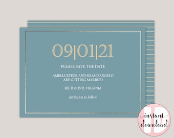 EVELYN - Classic Printable Save The Date Card, Save The Date Announcement, Formal and Elegant, Save The Date Template