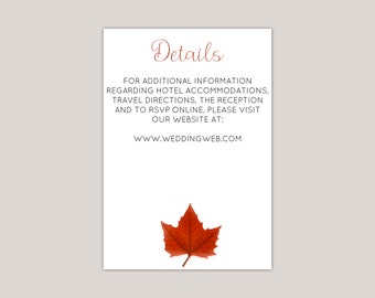 Mapleara - Fall Wedding Enclosure Card, Red Maple Leaf, Printed Modern Information Card, Details Card