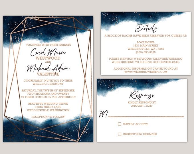 Featured listing image: Watercolor Geometric Splash Wedding Invitaiton Suite