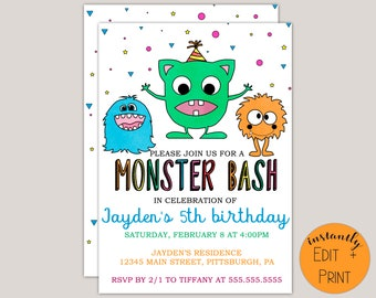 Printable Monster Bash Birthday Invitation Template
