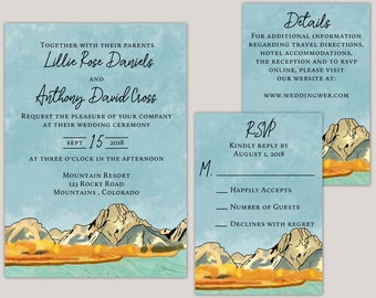 Watercolor Fall Mountain Wedding Invitation Suite