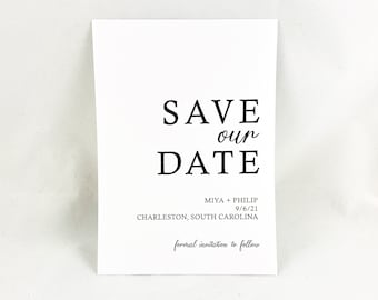 MARGO - PRINTED Modern Contemporary Save The Date, Minimalist Design, Wedding Announcement, Engagement Engagement, Custom Made