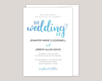Watercolor Calligraphy Modern Wedding Invitation