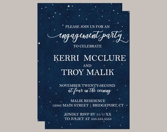 Starry Night Engagement Party Invitation
