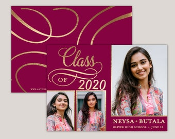 Glamour Grad Class of 2020, Photo Graduation Announcement