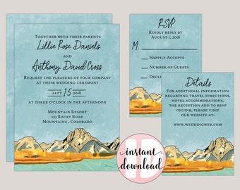 Watercolor Painted Fall Mountain Side Wedding Invitation Suite  - Printable at home Editable PDF