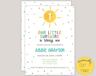 Our Little Sunshine Kids Birthday Invitation Template