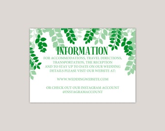 Greenscape - Luscious Green Leaves Wedding Enclosure Card, Printed Wedding Information Card, leaf canopy, summer wedding, Details Card