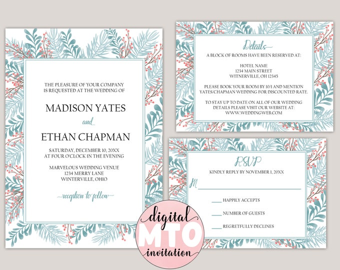 Featured listing image: APATITE - Winter Garden Wedding Invitation Suite, Made to Order, Digital Wedding Invitations, JPEG or PDF Invitation, Winter Wedding Invite
