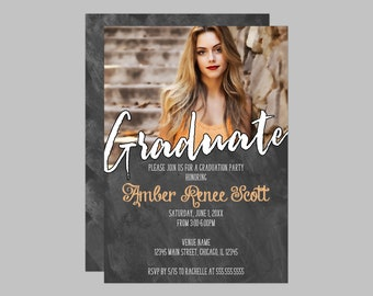 Chalkboard Photo Graduation Party Invitation