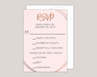 Rose Gold Geometric Oval RSVP Card