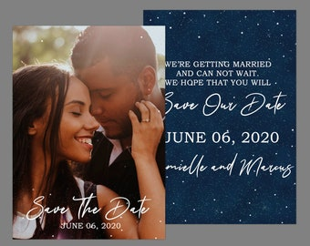 Starry Night Save The Date Photo Annoucement Card
