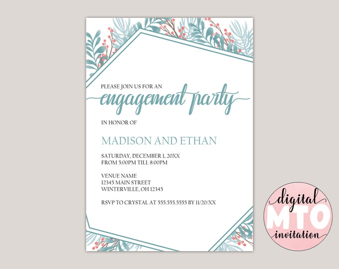 Featured listing image: APATITE- Winter Garden Engagement Party Invitation, Custom Made for You, Printable Invitation, Digital Invitation, PDF or JPEG Print at Home