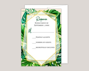 KAI - Tropical Foliage Wedding RSVP Card