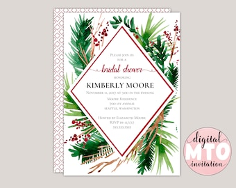 Evergreen - Winter Ferns and Red Berries Geometric Bridal Shower Invitation, Made to Order Digital Invite JPEG or PDF, Printable Invitation,