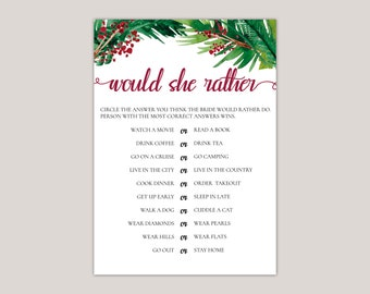 EVERGREEN - Would She Rather Bridal Shower Game, Winter Bridal Shower, Wedding Invitations with watercolor Ferns and Berries, Printed Games