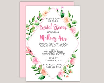 Peach and Pink Floral Bridal Shower Invitation