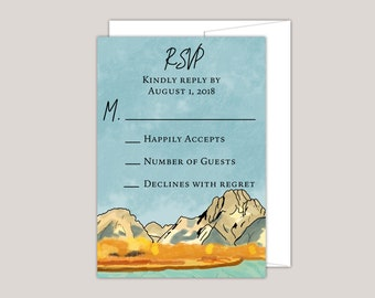 Watercolor Fall Mountain RSVP Card