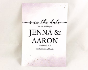 JENNA- PRINTED Modern Save The Date Card, Watercolor with Faux-Gold Foil Save The Date Announcement, Modern Elegant Calligraphy, Custom Made