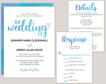 Kailaro - Blue Watercolor Calligraphy, Modern Wedding Invitation Suite, Custom, Made for You Printed Invitations, Beach or Summer Weddings,