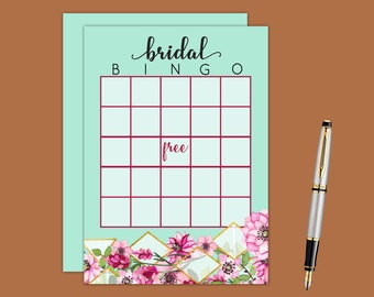 Pink Floral Geometric Bingo Bridal Shower Game