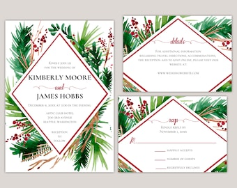 Evergreen - Winter Ferns and Red Berries Geometric Wedding Suite, Printed Elegant Winter Wedding Invitation Set, Modern Wedding Invitations