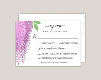 MELISANDRE - Wistera Floral RSVP Card with Meal Choice, Printed RSVP Card, Perfect for Spring and Summer Weddings