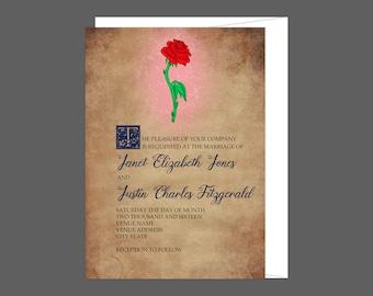 Enchanted Rose Story Book Wedding Invitation