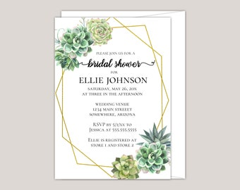 Stylish Succulent Bridal Shower Invitation