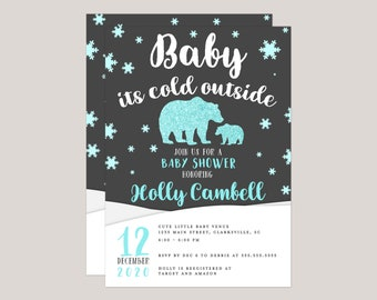Blue Glitter Polar Bear Baby It's Cold Out Baby Shower Invitation