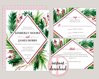 Evergreen - Geometric, Winter Wedding Invitations with watercolor Ferns and Berries, Printable DIY Templates,