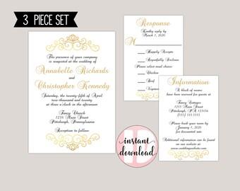 Elegant Scroll Romantic Traditional Wedding Invitation Suite
