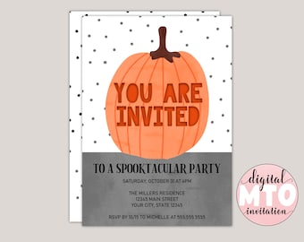 You Are Invited, Watercolor Pumpkin, Halloween Party Printable Invitation, Digital Invitation, Virtual Party Invitation