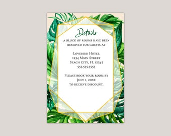 Tropical Foliage Wedding Enclosure Card