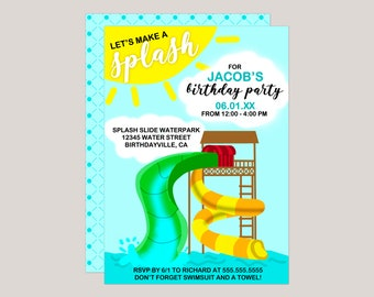Let's Make a Splash | Water Park Printable Birthday Invitation - Digital Invitation for Email, Social Media or You Print