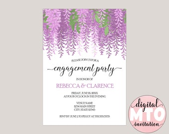 MELISANDRE - Watercolor Wisteria Engagement Party Invitation, Custom Made for You, Printable Invitation, Digital Invitation