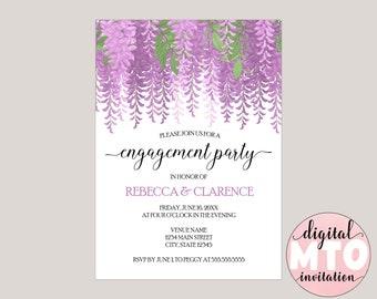 Melisandre - Watercolor Wisteria Engagement Party Invitation, Custom Made for You, Printable Invitation, Digital Invitation