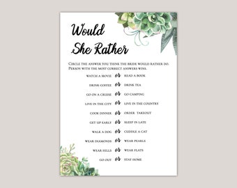 Stylish Succulent Would She Rather Bridal Shower Game