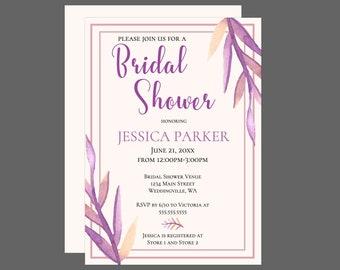 Colorful Watercolor Purple Leaves Bridal Shower Invitation