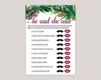 EVERGREEN - He Said / She Said Bridal Shower Game, Winter Bridal Showers, Printed Bridal Shower Games, Watercolor Ferns and Berries