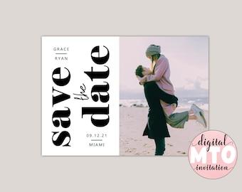 GRACE - Modern Photo Save The Date, Printable PDF or Digital JPEG, Wedding Announcement, Custom Made Minimalist, Contemporary.