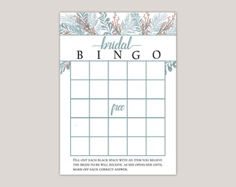 APATITE - Bridal Shower Bingo Game, Bridal Shower Games, Printed Bingo Card, Fill in Bingo Card, Winter Bridal Shower, Winter Garden