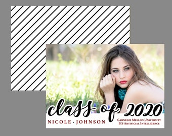 Class of 2020 Modern Script Photo Graduation Announcement or Graduation Party Invitation