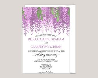 MELISANDRE - Printed Wedding Invitation, Hand-drawn Purple Wisteria, Whimsical Floral Custom Wedding Invitation, Spring/Summer Wedding